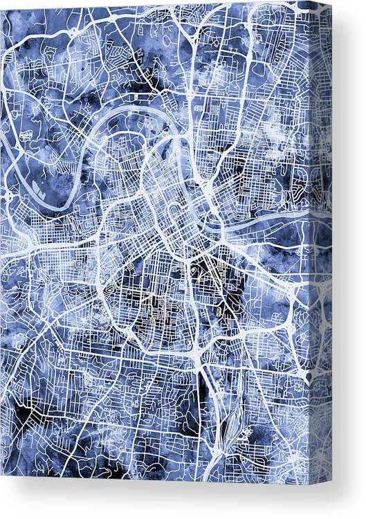 Nashville Canvas Print featuring the digital art Nashville Tennessee City Map by Michael Tompsett