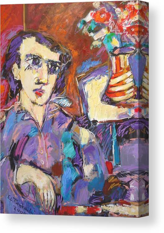 Man With Flowers-vision Canvas Print featuring the painting Painting by Ibrahim El tanbouli
