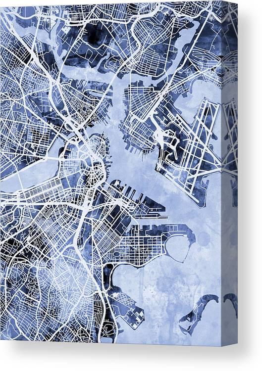Street Map Canvas Print featuring the digital art Boston Massachusetts Street Map by Michael Tompsett