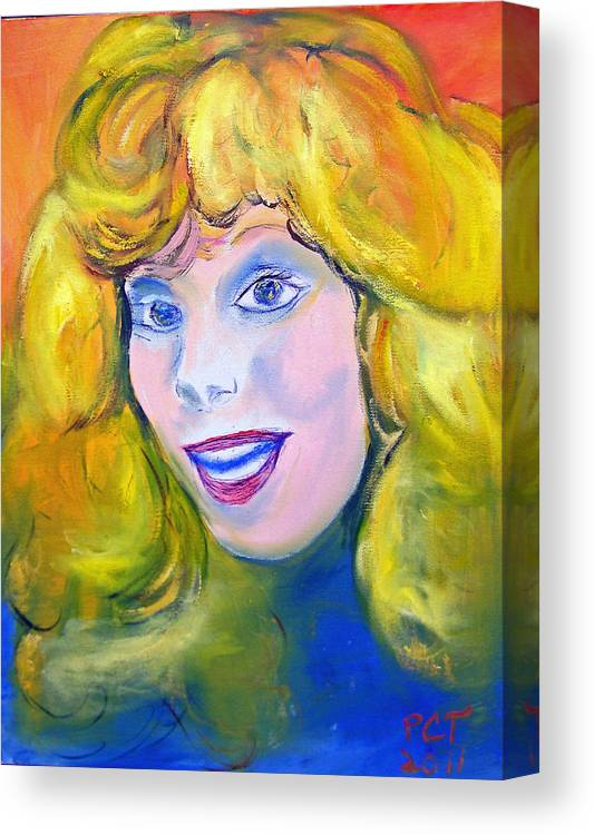 Blonde Girl Canvas Print featuring the painting 70's Blue Eyed Blonde by Patricia Taylor