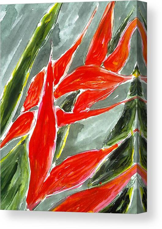 Abstract Flowrs Canvas Print featuring the painting Divine Flowers by Baljit Chadha