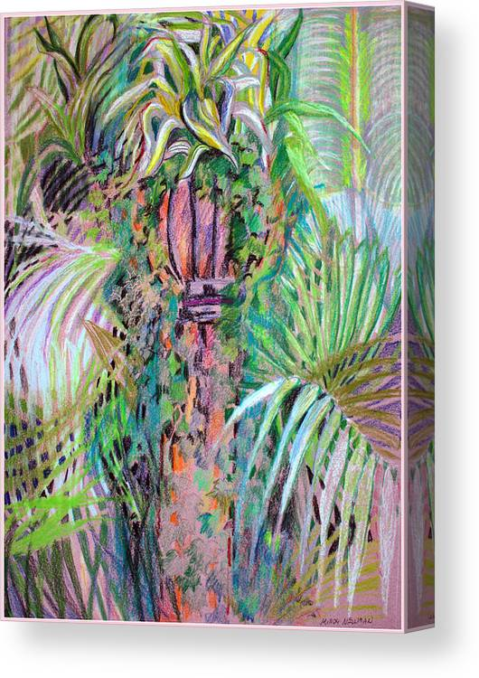 Plants Canvas Print featuring the mixed media A Tropical Basket On A Post by Mindy Newman