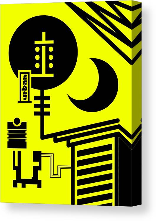 Contemporary Canvas Print featuring the digital art Abstract Urban 01 by Dar Geloni
