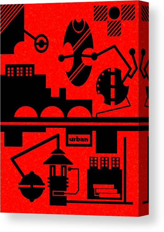 Contemporary Canvas Print featuring the digital art Abstract Urban 05 by Dar Geloni