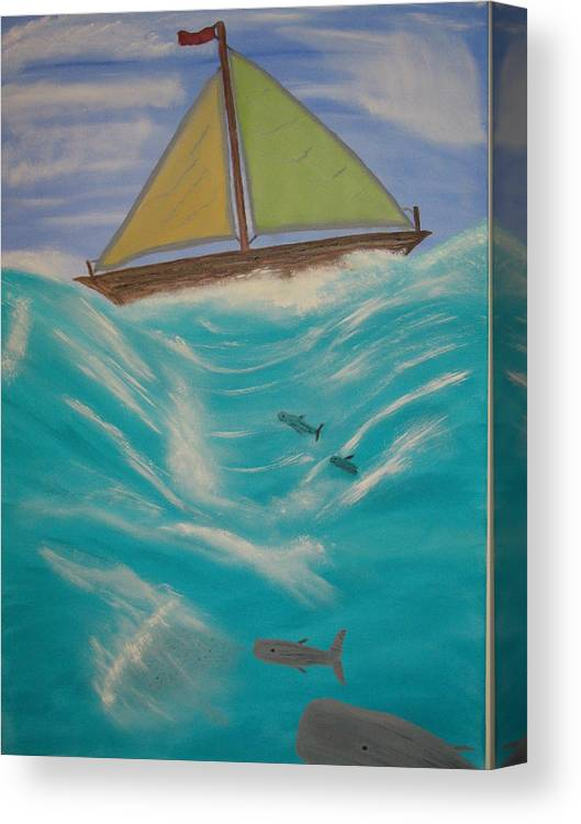 Boats Canvas Print featuring the painting Adrift At Sea by Edwin Long