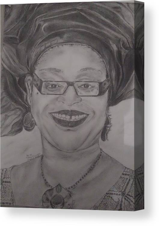 Portrait Canvas Print featuring the drawing African Pride by Adewale Michael