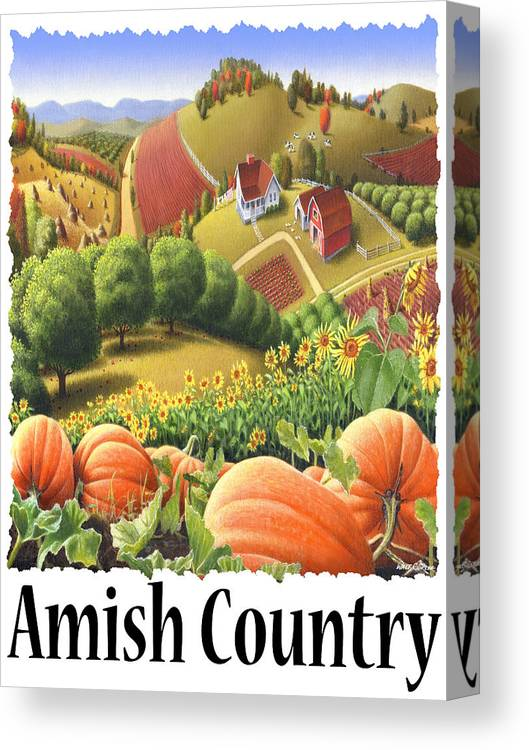 Amish Country Canvas Print featuring the painting Amish Country - Pumpkin Patch Country Farm Landscape by Walt Curlee