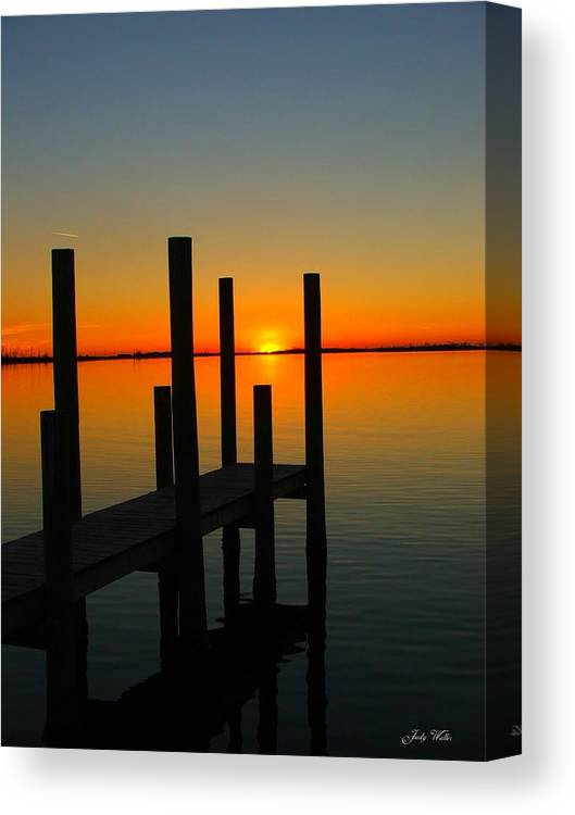 Sunset Canvas Print featuring the photograph At The Pier by Judy Waller