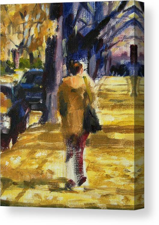 New York Canvas Print featuring the painting Autumn In New York by Merle Keller
