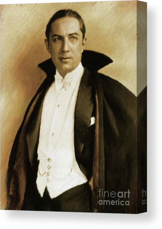 Bela Canvas Print featuring the painting Bela Lugosi As Dracula by Mary Bassett