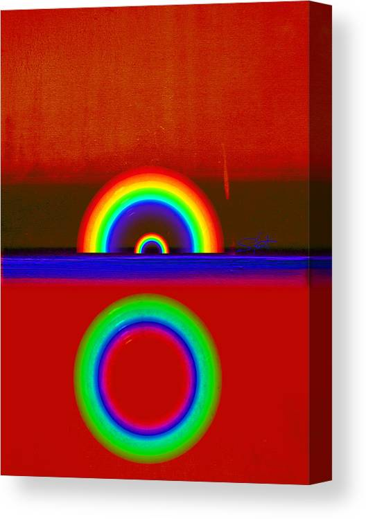Rainbow Canvas Print featuring the painting Beneath The Deep Blue Sea by Charles Stuart