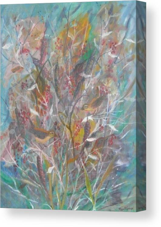 Birds Canvas Print featuring the painting Birds In A Bush by Ben Kiger