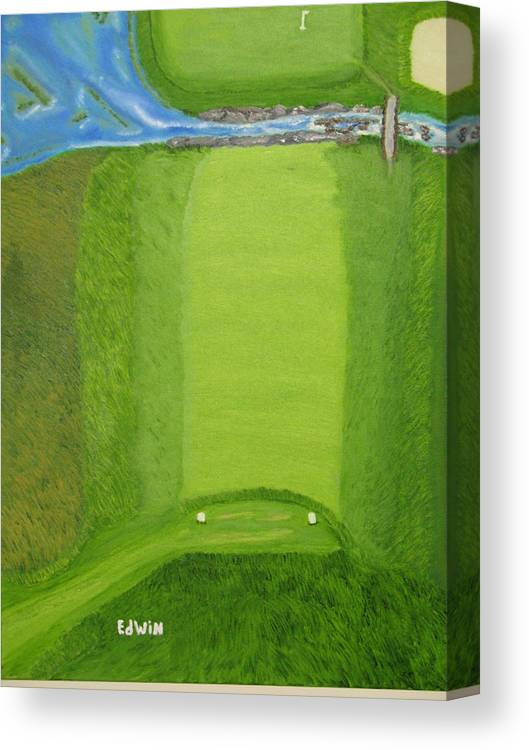 Golf Canvas Print featuring the painting Blimp View Golf by Edwin Long