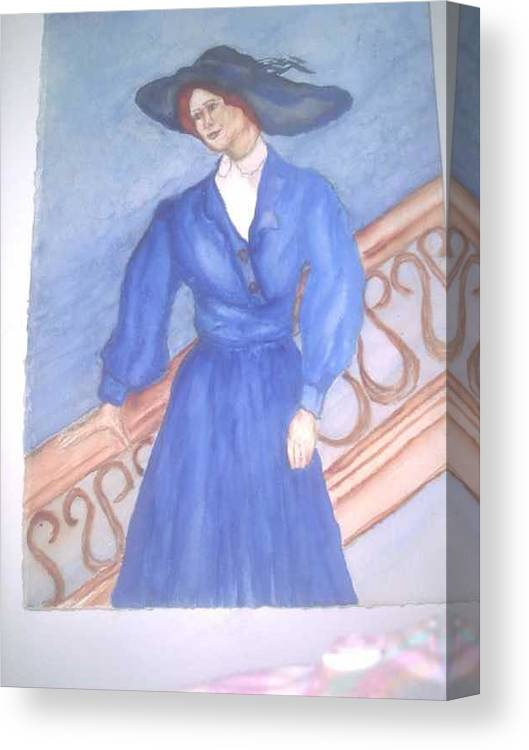 Image Caught My Imagination Canvas Print featuring the painting Blue Lady by Nancy Caccioppo