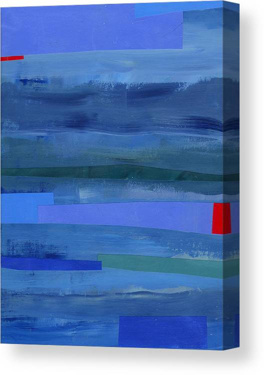 Abstract Art Canvas Print featuring the painting Blue Stripes 1 by Jane Davies