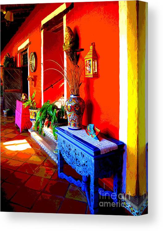 Darian Day Canvas Print featuring the photograph Blue Table By Darian Day by Mexicolors Art Photography