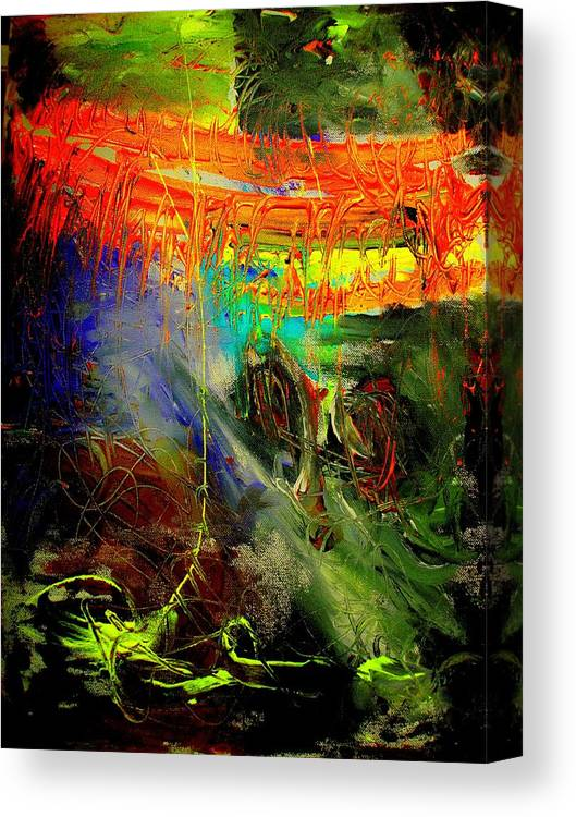 Abstract Prinst Canvas Print featuring the painting Bridge To Heaven by Teo Santa