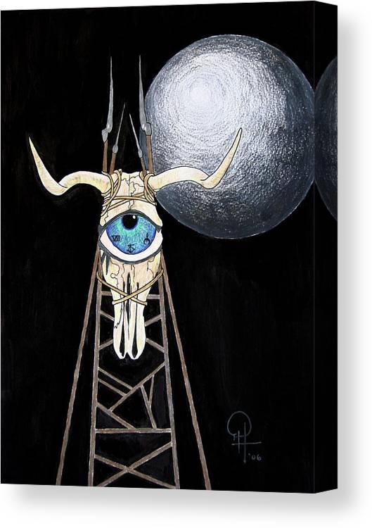Bull Skull Canvas Print featuring the painting Bullseye by Doug Hiser