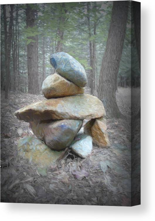 Woods Canvas Print featuring the mixed media Cairn by Susan Lafleur