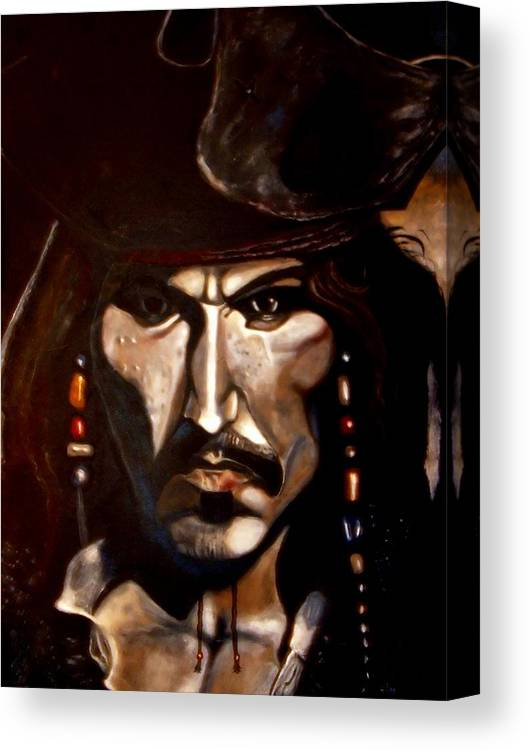 Captain Jack Sparrow Canvas Print featuring the painting Captain Jack Sparrow by Herbert Renard