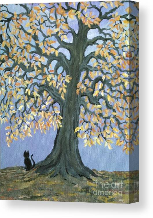 Cat Canvas Print featuring the painting Cat And Crow by Nick Gustafson