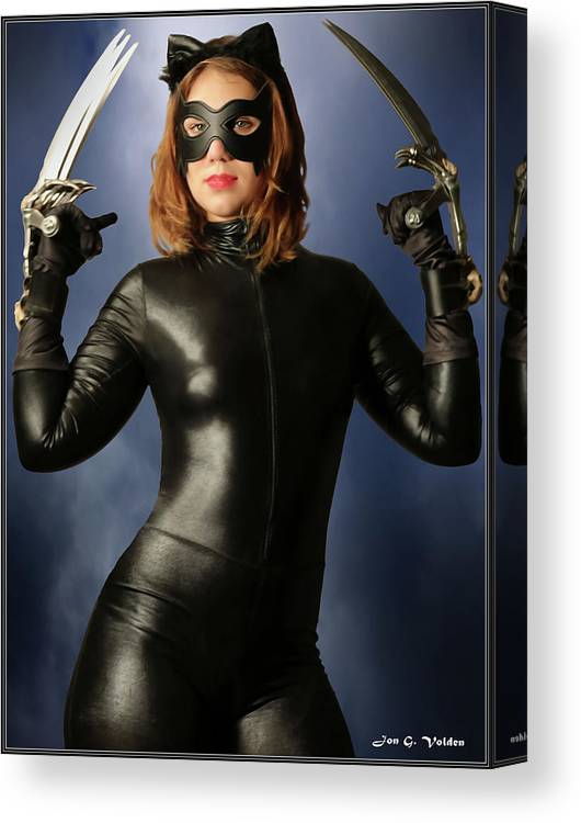 Cat Woman Canvas Print featuring the photograph Cat Claws And Mask by Jon Volden