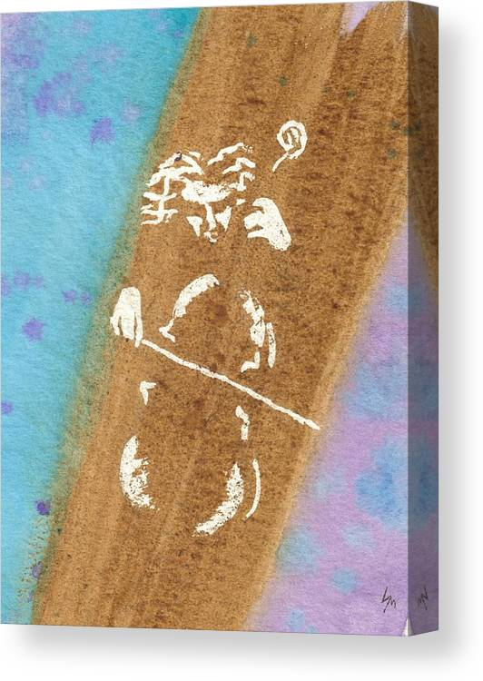 Watercolor Canvas Print featuring the painting Cellist by Louise Marquis