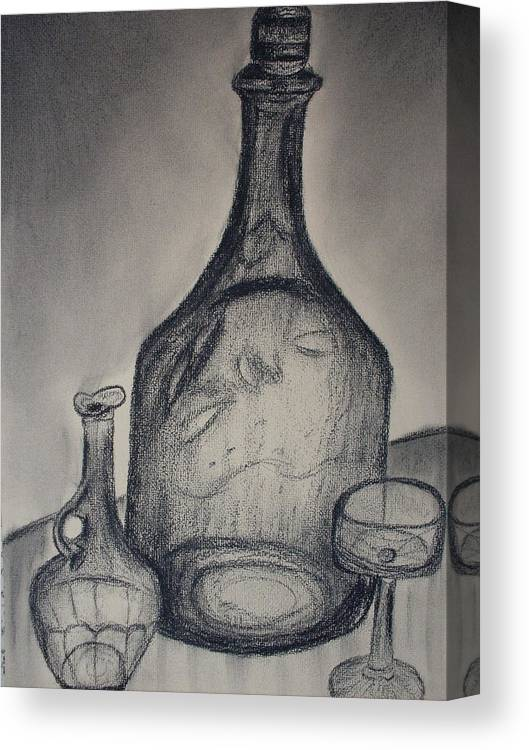 Bottles Glass Drawings Canvas Print featuring the drawing Charcoal Glass by Emily Ruth Thompson