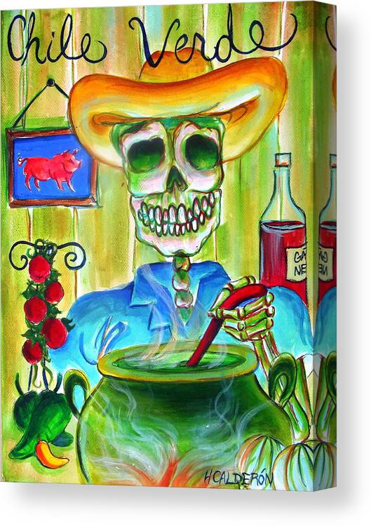 Day Of The Dead Canvas Print featuring the painting Chile Verde by Heather Calderon