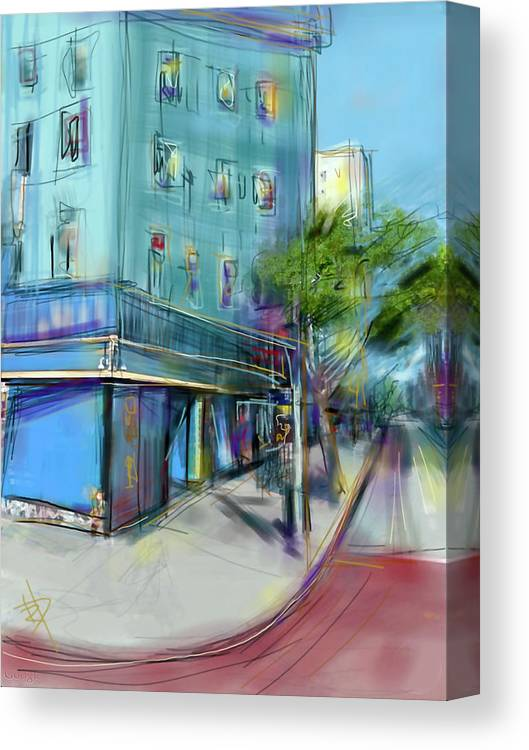 City Canvas Print featuring the digital art City Blue by Russell Pierce