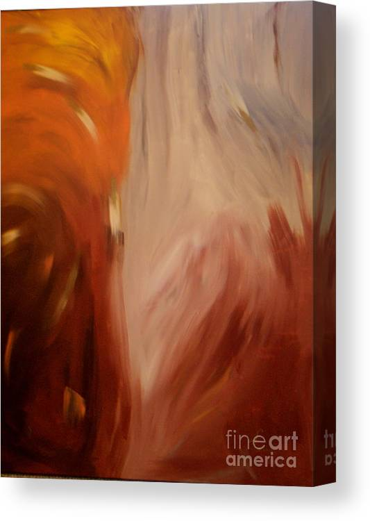 Abstract Earthtone Brown Tan Cream Yellow Gold Canvas Print featuring the painting Conflagration by Lynda Farrow