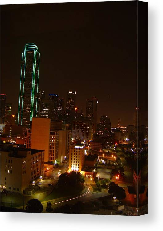Landscape Canvas Print featuring the photograph Dallas Night Moves by Larry Underwood