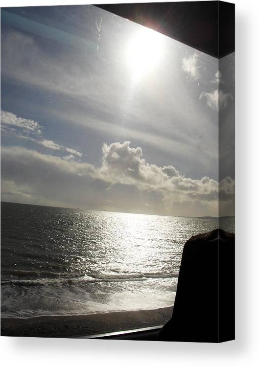 Phograph Seaside Sea Sun Light Clouds Canvas Print featuring the photograph Dream On The Train by Agnes V