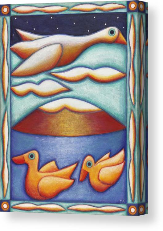 Whimsical Canvas Print featuring the painting Duck Duck Goose by Mary Anne Nagy
