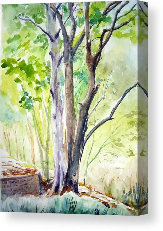 Landscape Canvas Print featuring the painting Ekant Park 10 by Prabhu Dhok