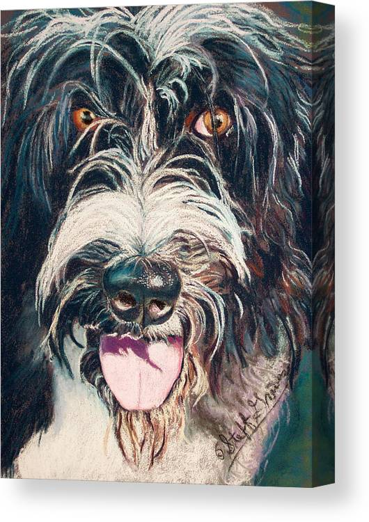 Dog Canvas Print featuring the painting Elijah by Stephanie Grimes