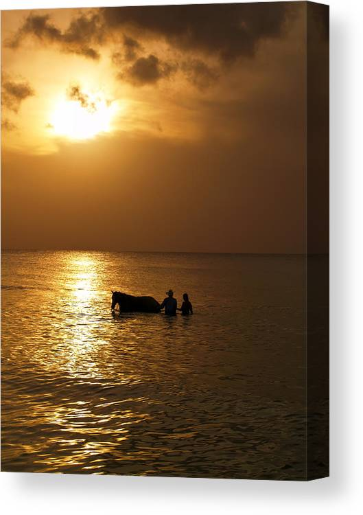 Sunset Canvas Print featuring the photograph End Of The Day by Linda Morland