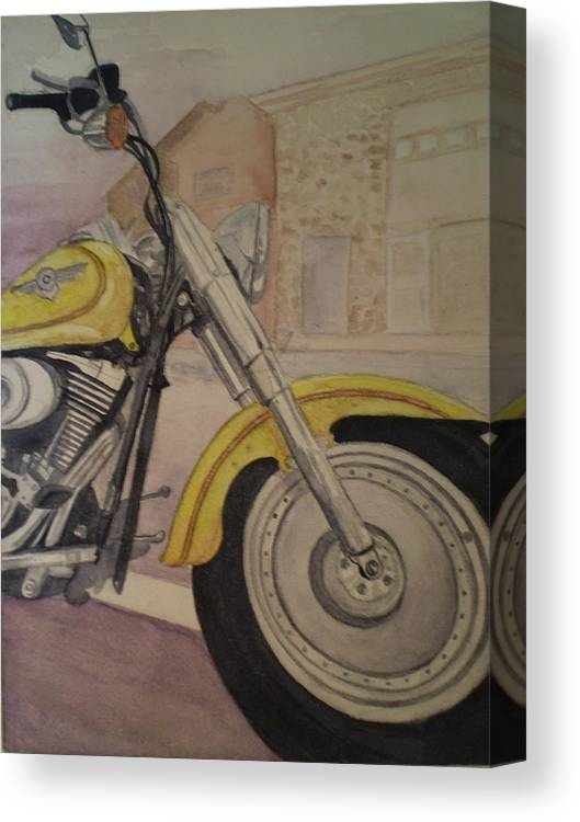 Motorcycle Canvas Print featuring the painting Fat Boy by Alyson Harris