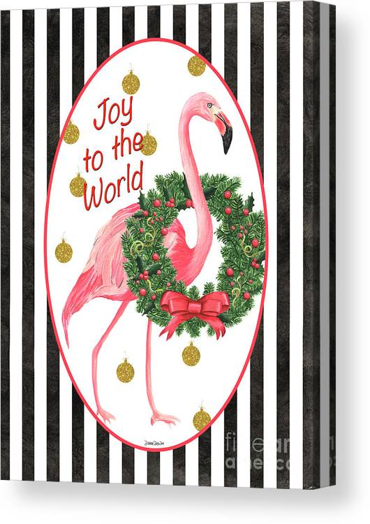 Flamingo Canvas Print featuring the painting Flamingo Amore 2 by Debbie DeWitt