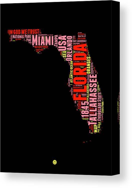 Print Map Of Florida.Florida Word Cloud Map 1 Canvas Print Canvas Art By Naxart Studio