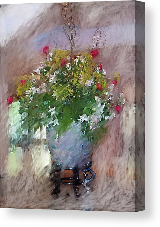 Flora Canvas Print featuring the digital art Flower Bowl by Ches Black