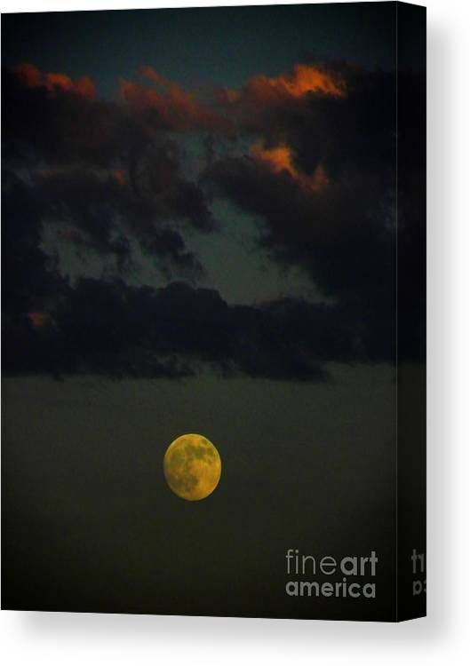 Full Moon Canvas Print featuring the photograph Full Moon At Sunset by Henry Murray