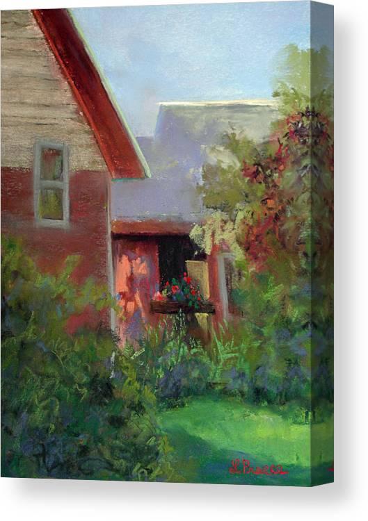 Geraniums Canvas Print featuring the pastel Geraniums by Linda Preece