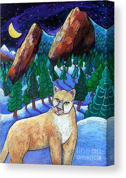 Cougar Canvas Print featuring the painting Ghost Of The Night by Harriet Peck Taylor