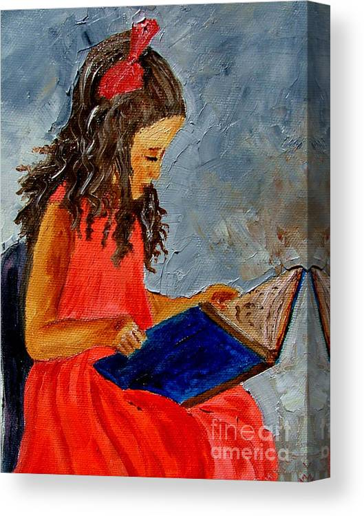 Girl Canvas Print featuring the painting Girl With The Book by Inna Montano