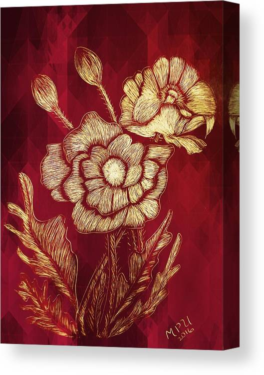 Golden Poppies Canvas Print featuring the digital art Golden Poppies by Maria Urso