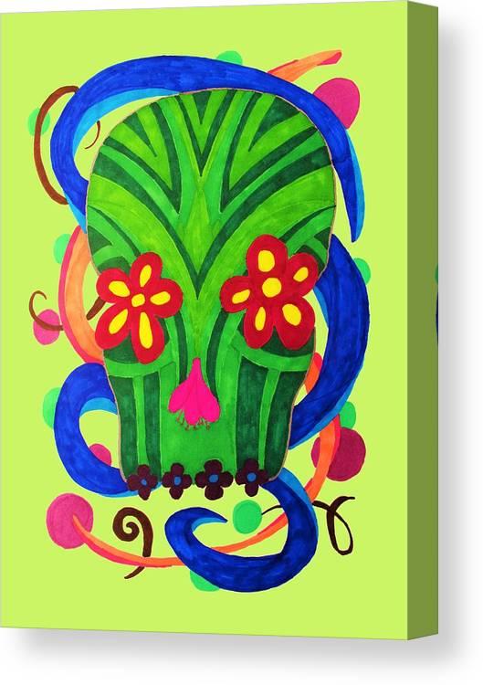 Dia De Los Muertos Canvas Print featuring the drawing Grassy Skull Transparent by Wendy Rickwalt