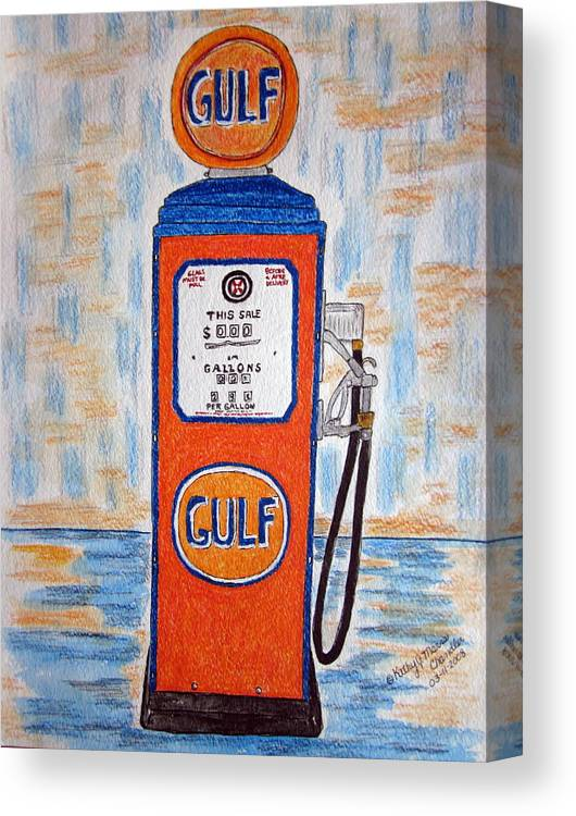 Vintage Canvas Print featuring the painting Gulf Gas Pump by Kathy Marrs Chandler