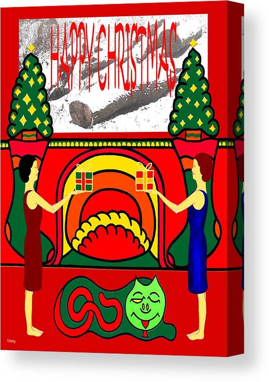 Christmas Canvas Print featuring the painting Happy Christmas 13 by Patrick J Murphy