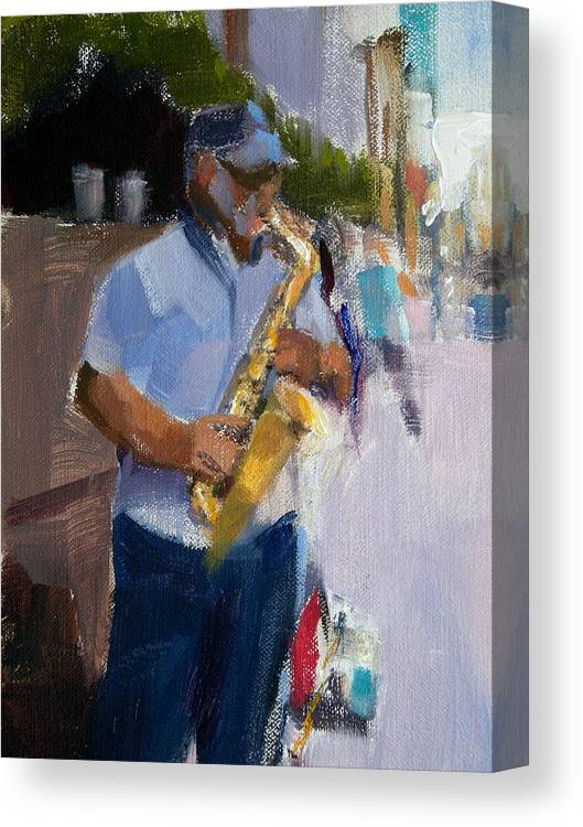 Musicians Canvas Print featuring the painting He Was Playing Real Good For Free by Merle Keller
